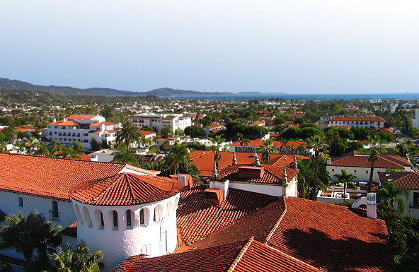 Overview of the City of Santa Barbara. From the Santa Barbara Courthouse to the Ocean
